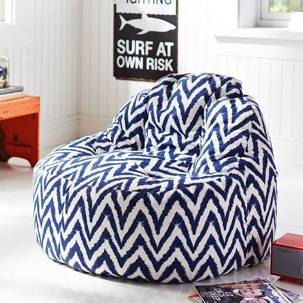 Pb teen navy tie dye chevron leanback lounger single at pottery barn 275 cad liked on - Leanback lounger chairs ...