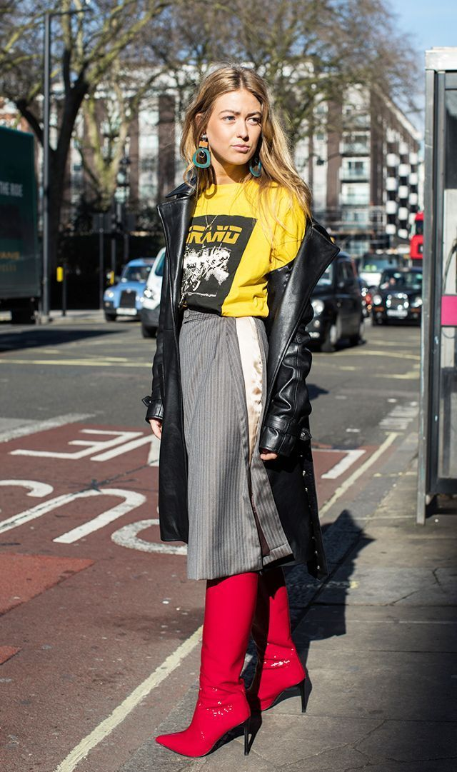 2017 street style trend: red boots