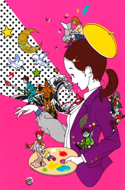 #Art #Illustration girls with brushes