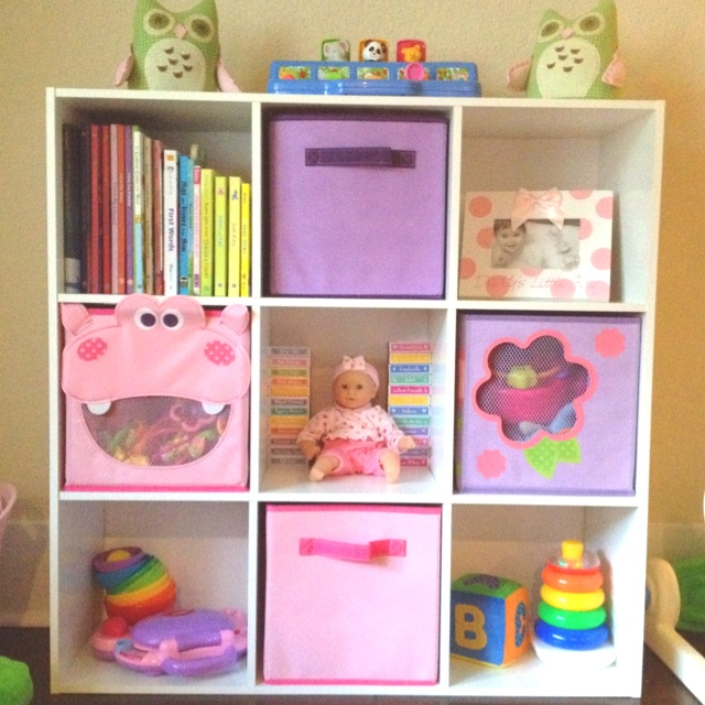 9 cube storage in Paige's playroom, it's perfect!
