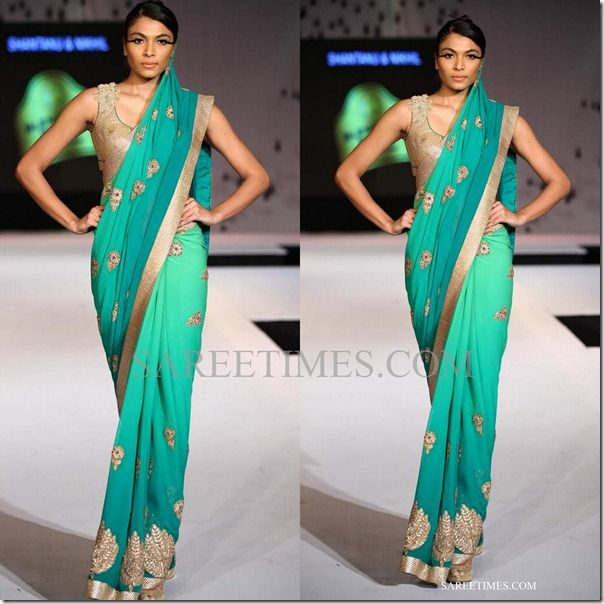 Ombre Saree in Green by http://www.ShantanuNikhil.com/