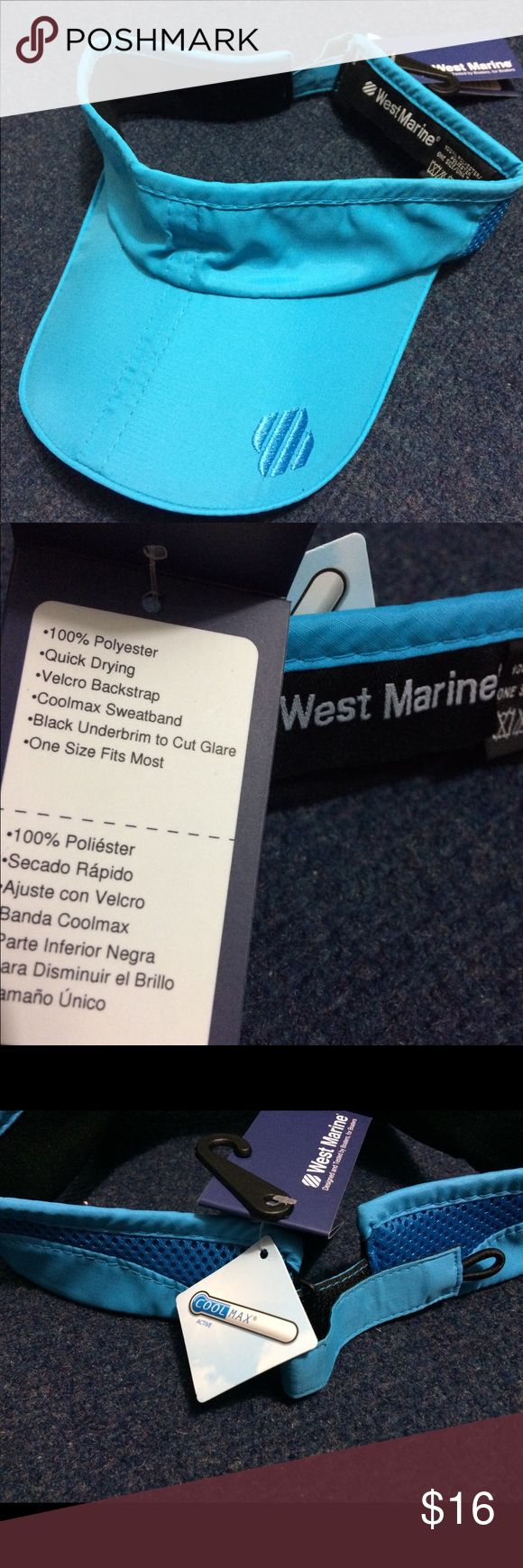 West Marine cool max active blue visor West Marine Visor new with tags, quick drying, Velcro back strap, coolmax sweatband, black underbrim to cut glare, one size fits most Other