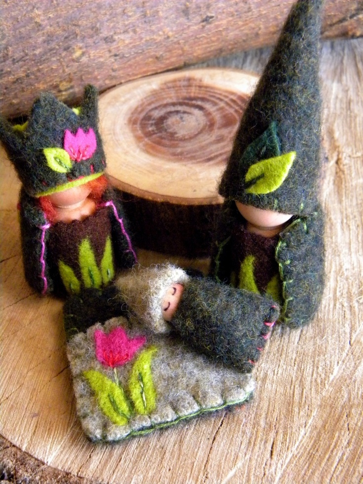 Waldorf Spring Gnomes, wool peg dolls, king, queen of the forest, green, lime green, hot pink, magenta, tulip, spring summer nature table. $48.00, via Etsy.