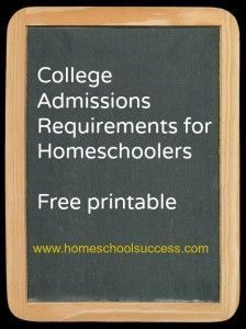Are you confused about what colleges expect from homeschoolers? This free printable chart from Homeschool Success shows you exactly what you need to plan for math, science, English, social science and foreign language to make sure your homeschooler is ready for college admissions.