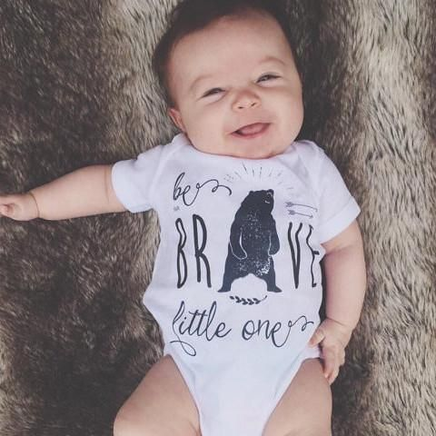 « BE BRAVE LITTLE ONE » BODYSUIT - The Pinetorch. Hipster baby, baby boy clothes, baby onesie, bear onesie, boy style.