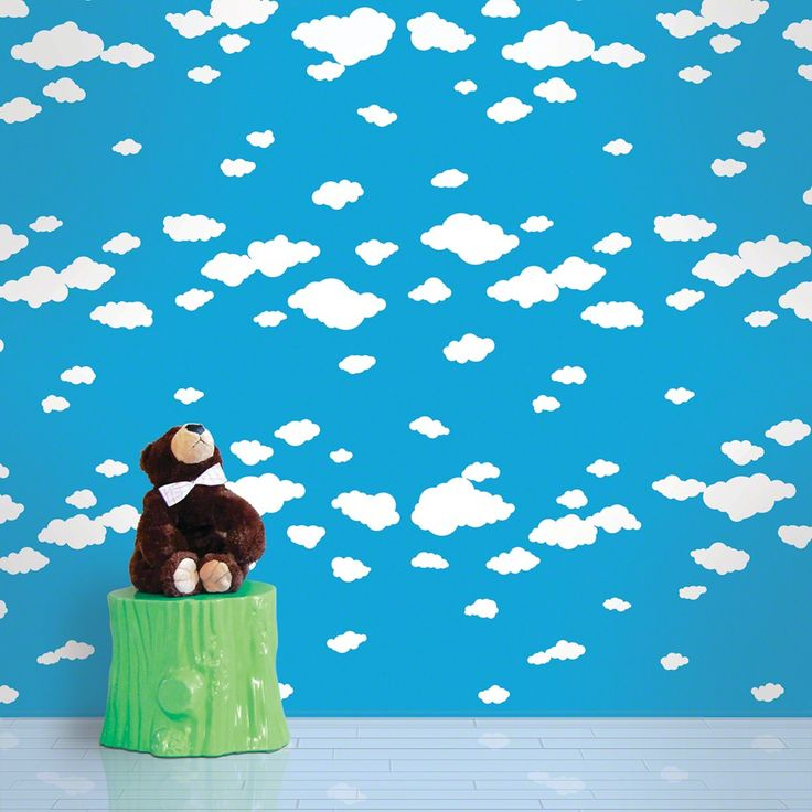 wallcandy summer clouds temporary wallpaper at