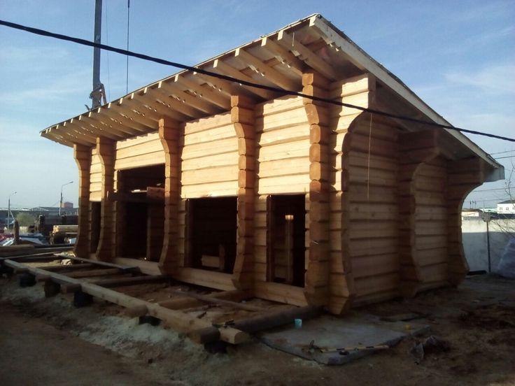 Современный рубленый дом из лафета лиственницы норвежский дом