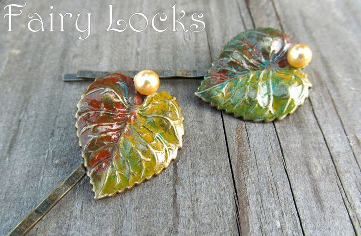 Hand-made hair pins with bronze leaves and autumn patinas Agrafe de par FAIRY LOCKS (37 LEI la afterforever.breslo.ro)