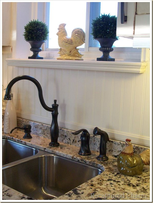 Beadboard backsplash. This is what we need to do in my kitchen now!