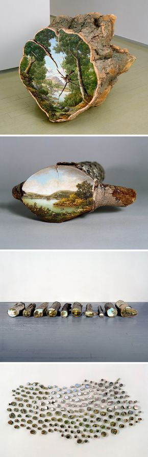 Landscapes Painted on the Surfaces of Cut Logs by Alison Moritsugu