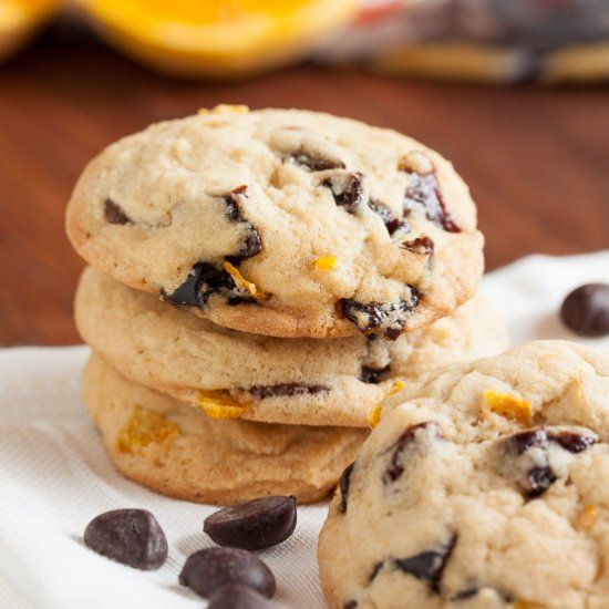Incredibly soft orange cookies, loaded with tart dried cherries and lots of chocolate chips. So good!