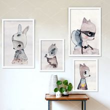Ins hot cute cartoon rabbit Watercolor illustration Canvas Art Print Painting Poster, Wall Picture for Girls Room Decoration(China (Mainland))