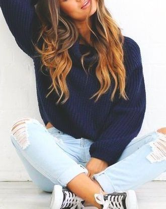 Autumn //  Sweater- navy blue chunky knit // Pants- light wash denim ripped skinny jeans // Shoes- low top black converse