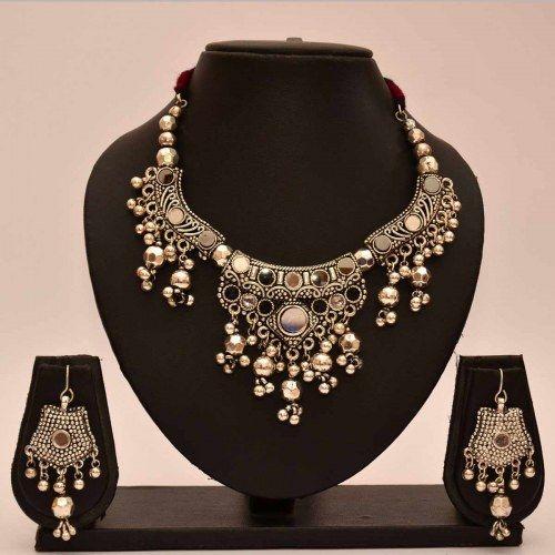 Avni's black metal neckalce and earrings with mirror design - Online Shopping…