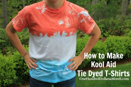 I have a ton of Kool Aid packets left over from my extreme couponing days, and while I don't plan on drinking them, I can't stand to see them go to waste. The Girl decided she was going to have some friends over to do some Kool Aid Tie Dyed T-Shirts...