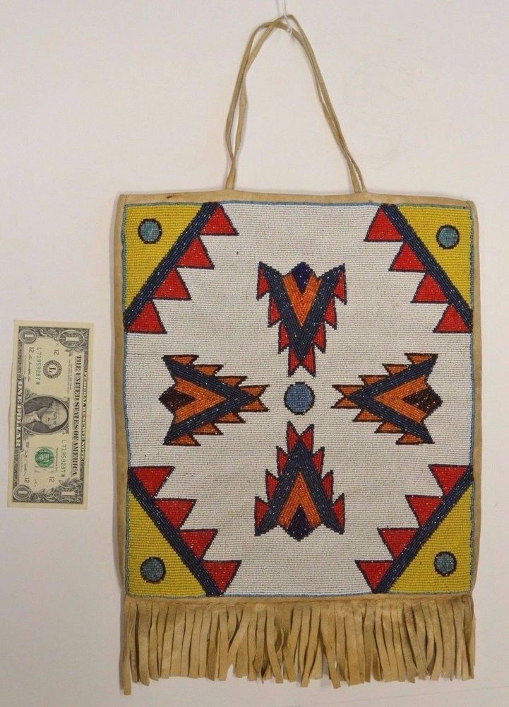 Native American Indian Plateau Tribe Beaded bag Circa 1920's 30's 13 x 12