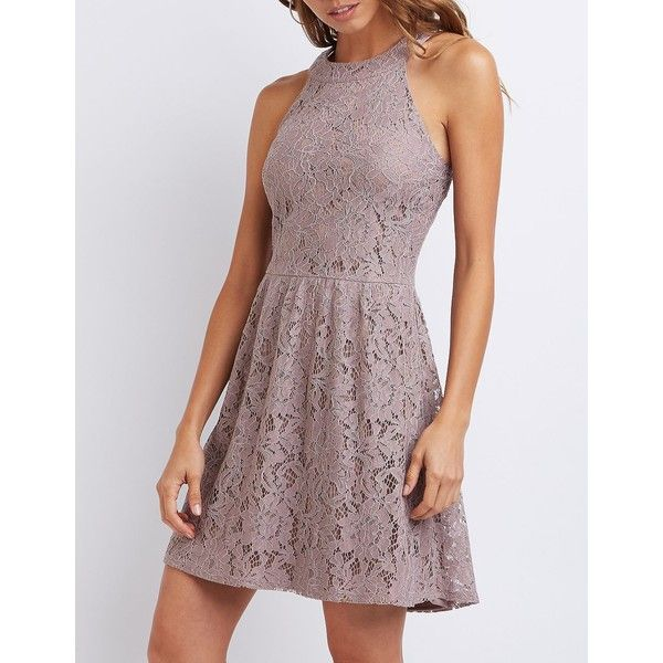 Charlotte Russe Lace Bib Neck Skater Dress ($35) ❤ liked on Polyvore featuring dresses, cloud gray, high neck dress, lace skater dress, grey dress, charlotte russe dresses and floral dresses