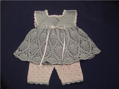 Handmade crocheted sage baby girl outfit  www.newyorkvintagelinens.com