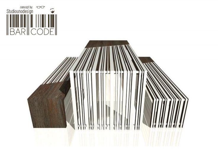 Formabilio - BAR.CODE è una composizione di un tavolo da pranzo con due panche che si ispirano alla grafica del codice a barre.  Il tavolo ha le dimensioni di cm. 200x80 H.75, mentre la panca è cm.190x40 H.45