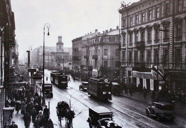 Marszałkowska między Chmielną a Alejami Jerozolimskimi, ok. 1931r.