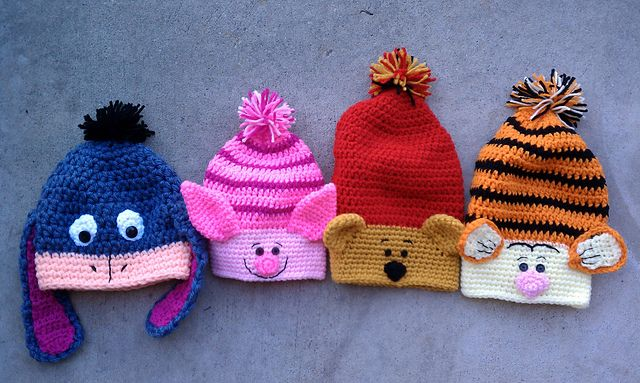 Ravelry: Slouchy Animal Crochet Hats pattern by Heidi Yates - Crochet, yes, but I can convert them to knit!!