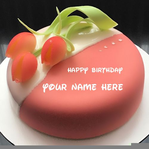 Happiest Birthday Special Pink Floral Cake With Name Deepmala Write