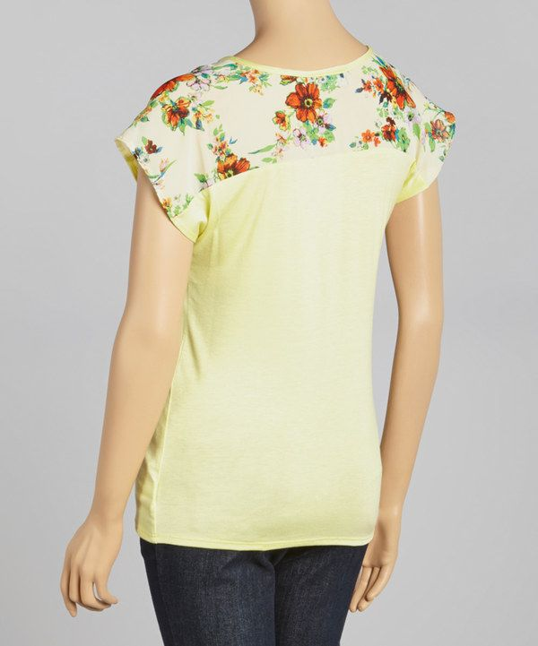 Look at this Yellow Soft Floral Maternity Short-Sleeve Top - Women on #zulily today!