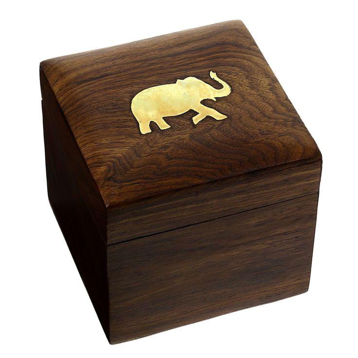 Square jewelry box made of wood with brass elephant decor: ShalinCraft: Amazon.fr: Jewelry