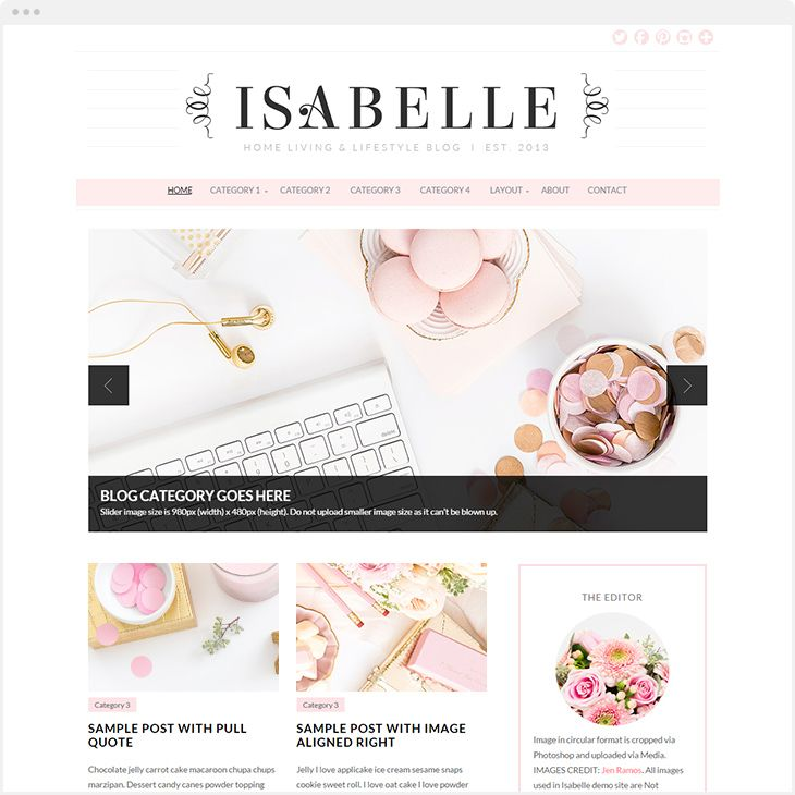 Meet Isabelle, a feminine WordPress Theme for stylish bloggers. Featuring auto-slider to highlight your popular posts or categories and designed to show excerpt post with thumbnail in grid layout. Be confident in your blog with Isabelle Theme. Click the PIN to see!