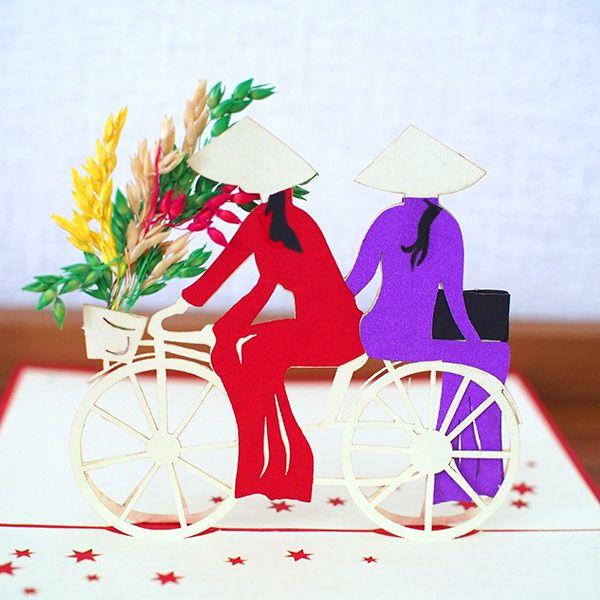 ベトナム 切り絵のメッセージカード(自転車の女の子 A) - カラフルなアジアン雑貨 笑福Lotus(ワラフクロータス) | エスニック | ベトナム雑貨 | アフリカ雑貨 | 通販