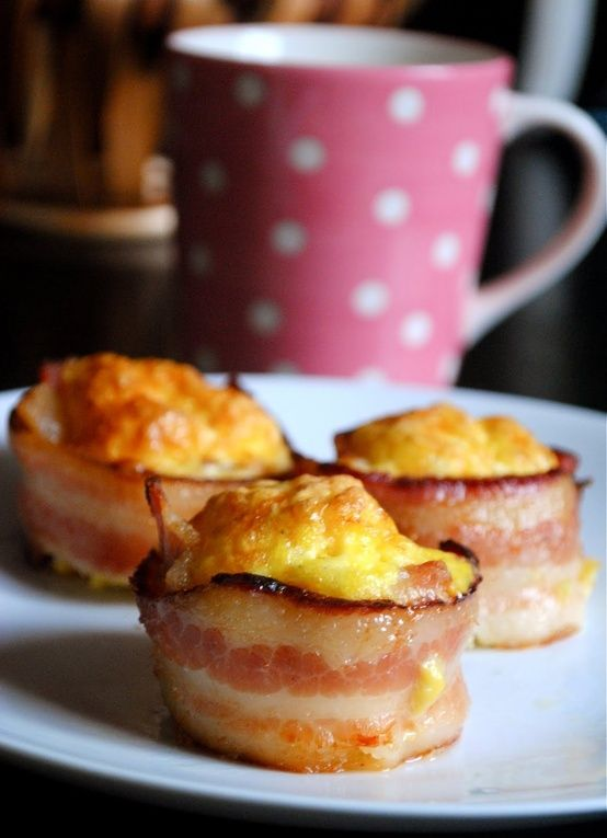 put bacon strips in muffin tin and then add whipped eggs with a little cheese about 3/4 full. Bake @ 350 degrees for 30-35 min. YUM! - Click image to find more Food & Drink Pinterest pins