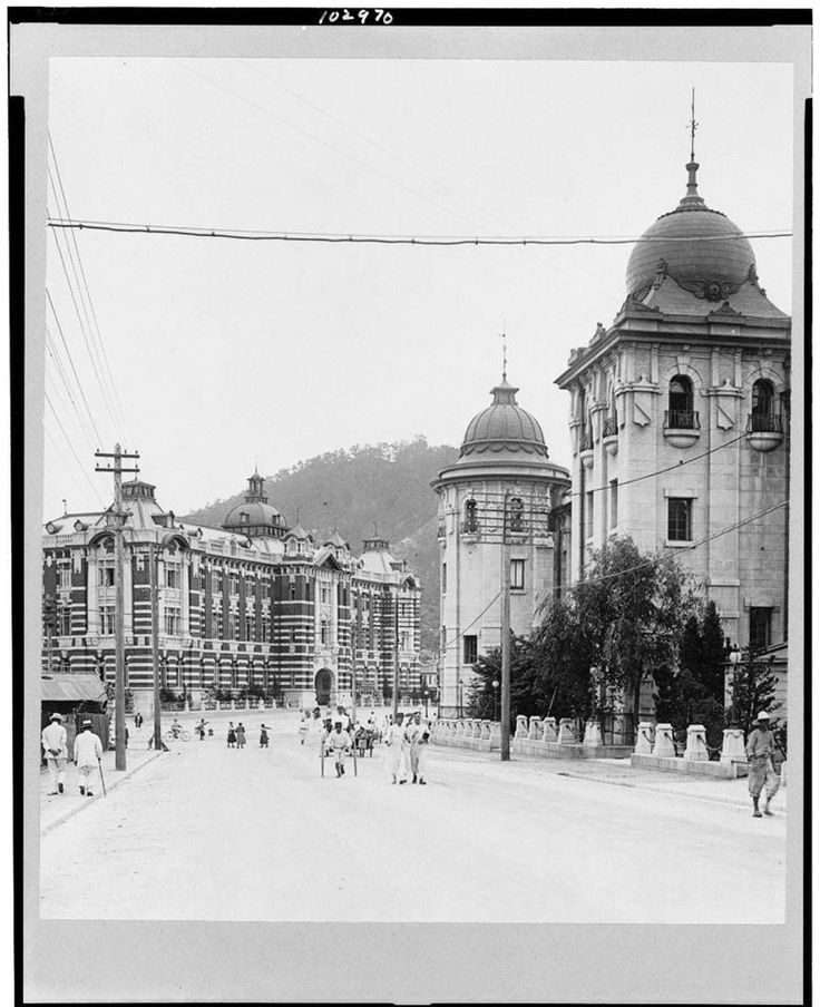 View of the new Keijo Central Post Office, Seoul, Korea, 1920's Photographer…