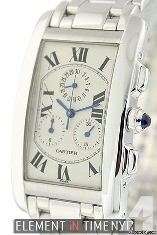 Cartier Tank Collection Tank Americaine Chronoflex 18k White Gold 28mm Reference #: W26033L1