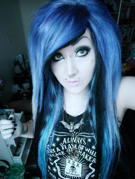 Purple emo scene hair girl