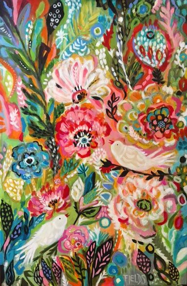 Original Bohemian Flower Painting Bird 24 x by karenfieldsgallery