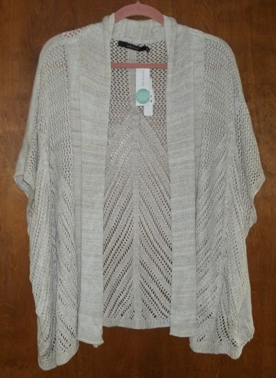 "Ark n Co Raine Open Knit Cardigan in off white. 100% very soft cotton, it measures 28"" long in back, slightly longer in front.  https://www.stitchfix.com/referral/4292370"