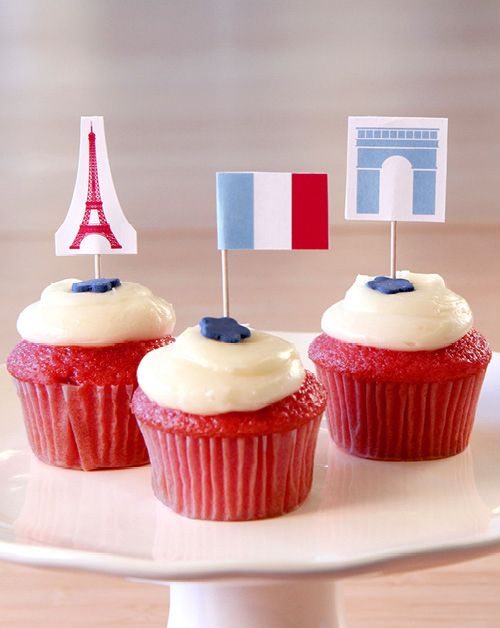 Bastille Day Cupcake Toppers DIY, inspired by The Little Paris Kitchen, by Rachel Khoo. Enter the Bastille Day Giveaway at www.chroniclebooks.com/bastilleday