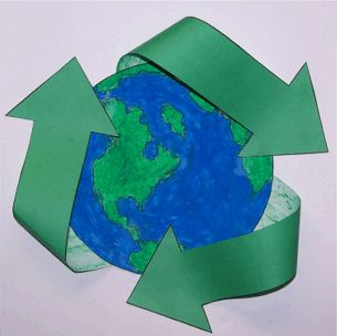 Paper Earth with recycling arrows.  Good cutting practice for the kids.