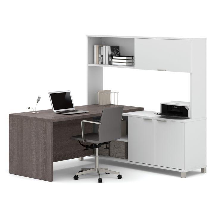 l desk office. premium modern lshaped desk with hutch in bark gray u0026 white l office