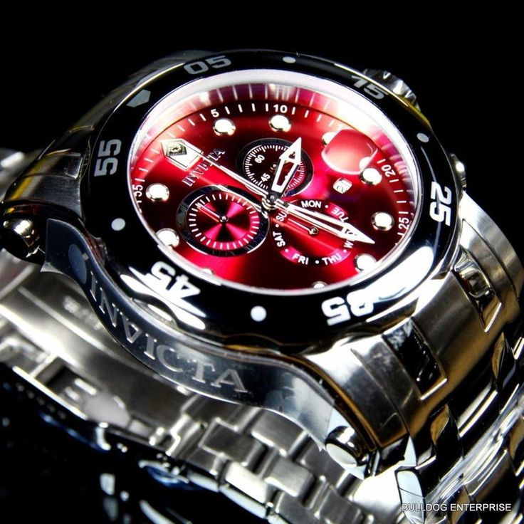 インヴィクタ 腕時計 Invicta 48mm Pro Diver  Scuba Burgandy Red Silver Steel Watch