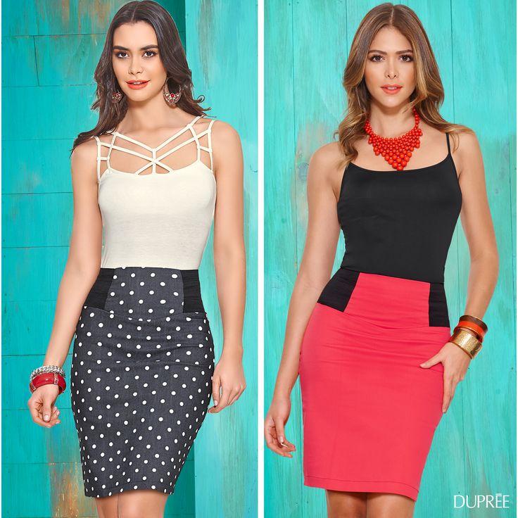 Faldas para mujer. Coral y puntos. Moda Dupree