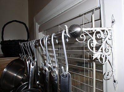 DIY POt Rack: Pots Racks, Decor, Ideas, Over The Sinks Pots, Curtain Rods, Curtains Rods, Windows Pots, Diy Pots, Wall