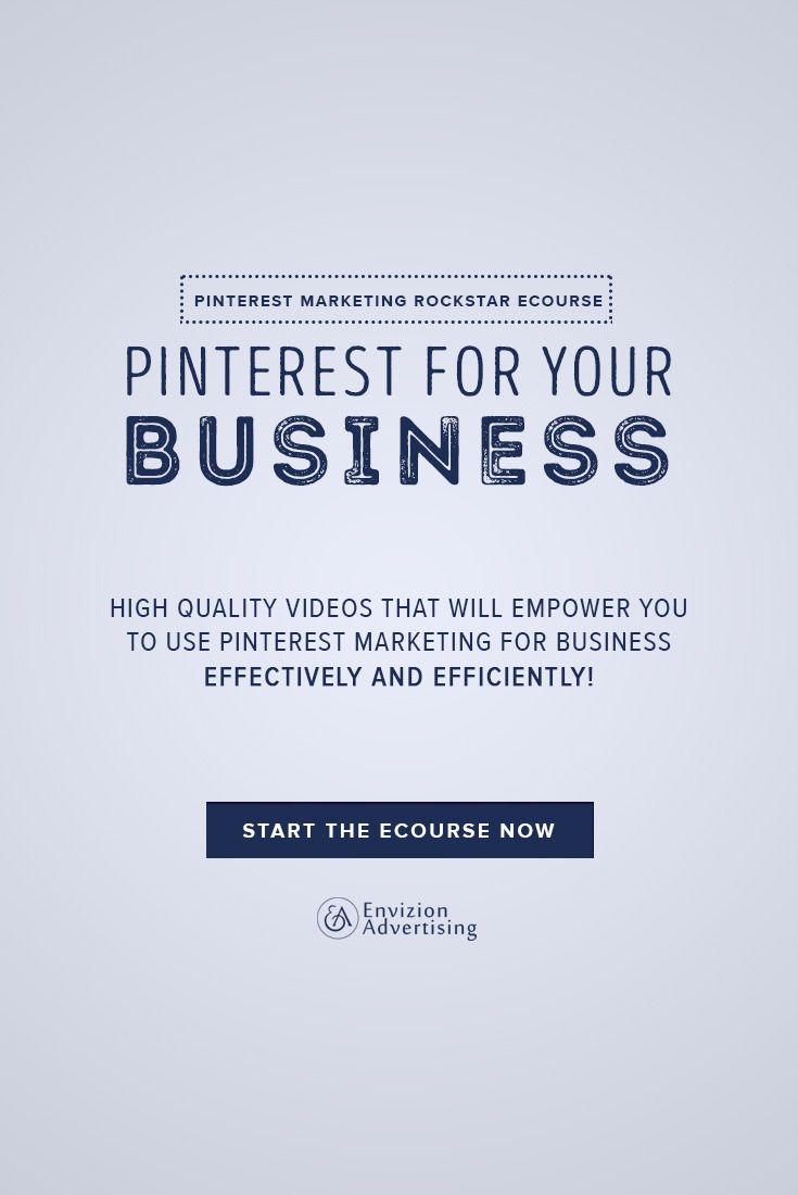 Pinterest for your business. High quality videos that will empower you to use Pinterest marketing for business effectively and efficiently. http://envizionadvertising.com/online-pinterest-marketing-course/#utm_sguid=134760,fad4da1c-10c1-973a-945f-20633478b3e5