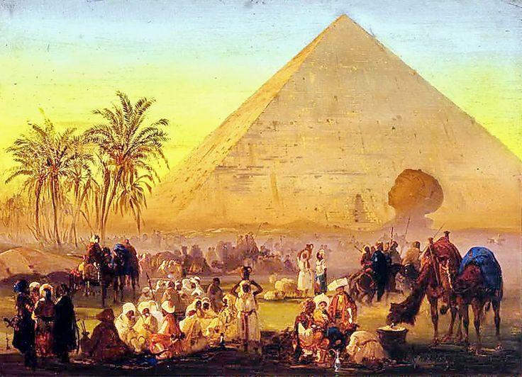 A caravan ,pyramid & sphinx  By Ippolito Caffi - Italian , 1809 -1866  Oil on canvas