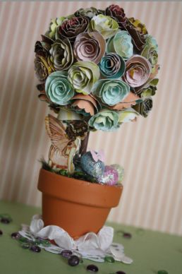 Handmade Little Things: Featured Crafter at Krafters' Paradise /Rolled Flower, Pixie Topiary Tutorial