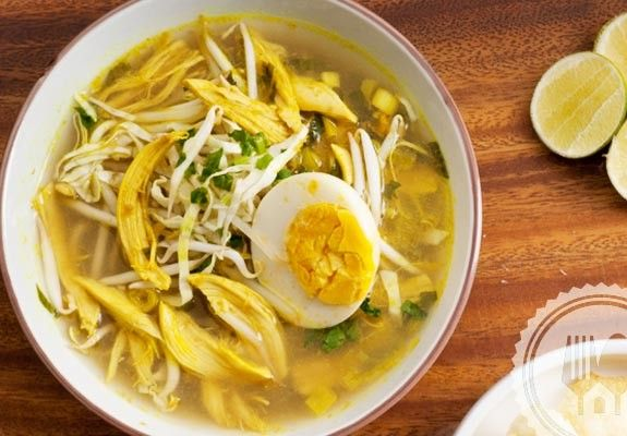 "SOTO LAMONGAN. This soup, known in Indonesian as ""soup"" is a one-dish meal in the which the broth is served separately from shredded fried chicken and fresh vegetables soup. Red bird's eye chilies of make the best sambal chili sauce to accompany this dish."
