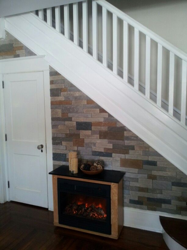 Airstone wall with an electric heater.