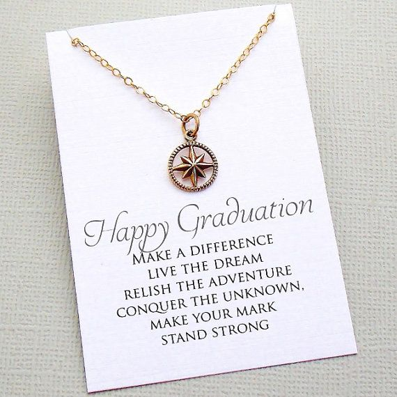 Graduation Compass Necklace | Compass Necklace | College Graduation Gift | Silver or Gold | G03