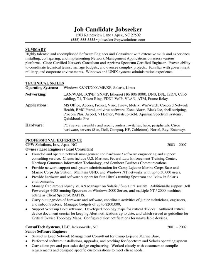 resume summary engineer sainde org software quality assurance - cisco pre sales engineer sample resume