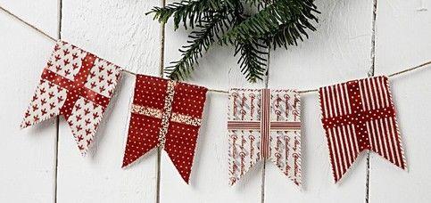 Guirlande m flag i filt - flagranke - jul julepynt - christmas garland-  Linket fører til mønster ark på den hollandske hjemmeside af creativ Company.